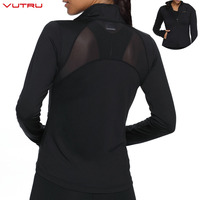 Zipper Yoga Running Jacket Women Long Sleeve Sport Coat Mesh Backless With Earphone and Thumb Hole Fitness Ladies Gym Clothing