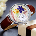 Miss Keke Cute Ladies Cartoon Quartz Watches Diamond 3D Clay Dog Animal Retro Clock Women Bracelet Leather Wrist Watches 621
