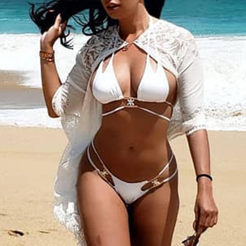 Nouveau Sexy diamant Bikini 2019 femmes Bandeau maillot de bain femme licou maillots de bain deux pièces Bikini ensemble baigneur maillot de bain