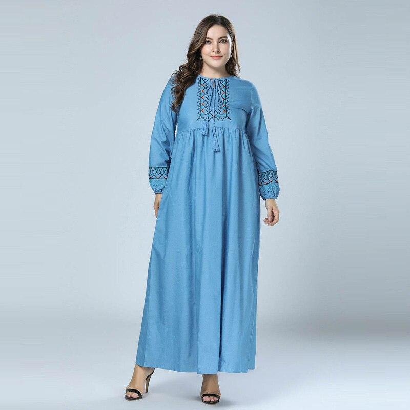 US $25.43 42% OFF|Light Blue Minimalist Embroidery Loose Maxi Dress Fashion  Women Lantern Sleeve Bohemian Dresses Plus Size Muslim Abaya Robe 4XL-in ...