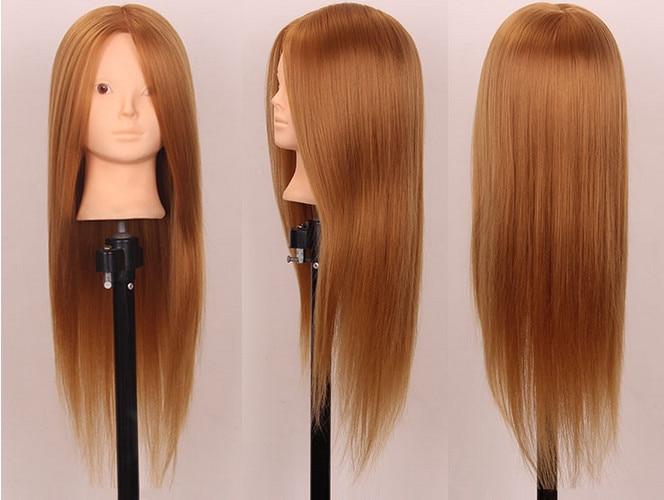 55-60 CM 80% doré naturel cheveux Mannequin tête cheveux Maniqui coiffure poupée têtes Mannequin têtes femmes coiffure Mannequin