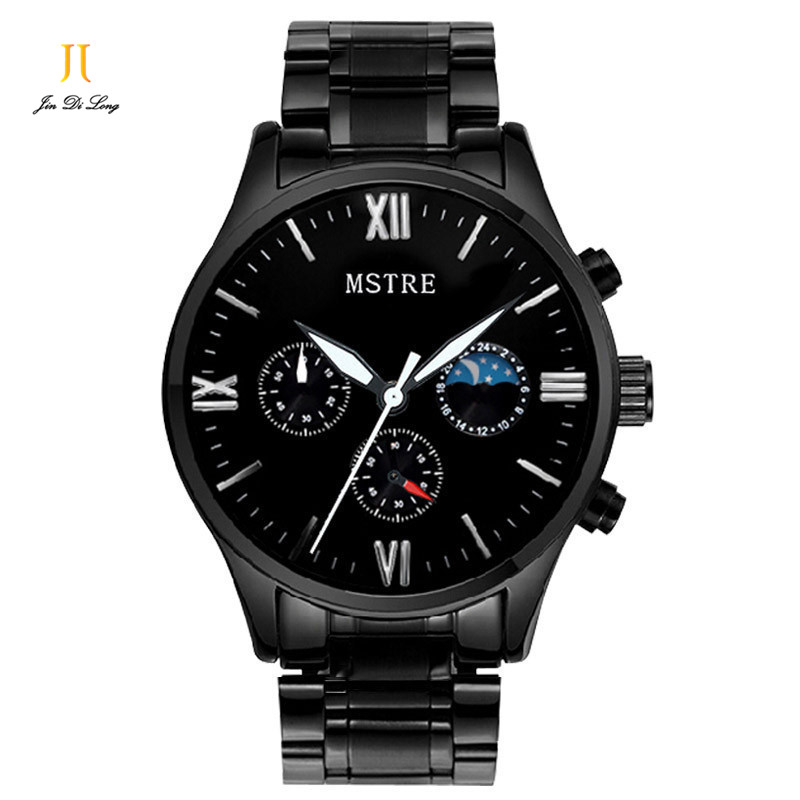 ФОТО Brand MSTRE Fashion Casual Business Watch Mens Quartz Stainless Steel Black Wrist Watches Chronograph Moon Phase Waterproof 100M