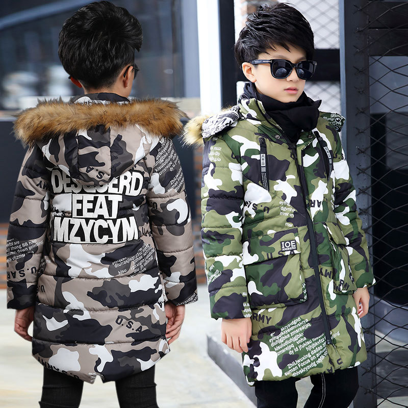 2018 New Fashion Camouflage Boys Jacket Warm Fur Collar Hooded Winter Jackets for Boy Coat Children Winter Clothing Kids Coat boy winter coat jacket children winter jackets for boys casual hooded warm coat kids clothing outwear fashion boys parka jacket