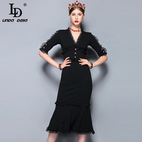 LD LINDA DELLA Fashion Runway Summer Dress Women's V Neck Vintage Black Lace Patchwork Bodycon Sexy Mermaid Party Dress 2018