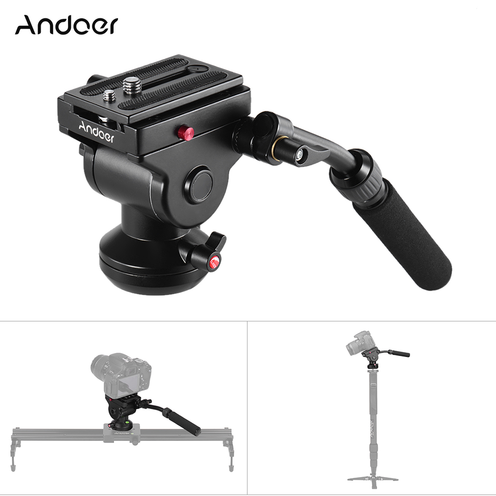 Andoer Video Camera Tripod Action Fluid Drag Pan Head Photographic Head for Canon DSLR Camera Camcorder