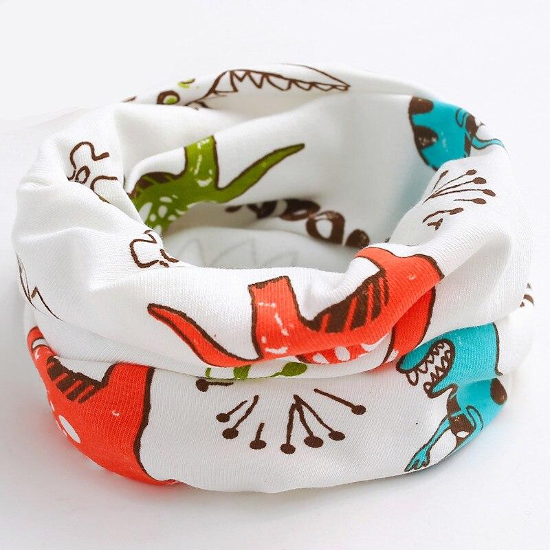 Осенне-зимний детский хлопковый плюшевый шарф, детский шарф для девочек, шарфы для мальчиков и девочек, детский воротник, детский волшебный шейный платок с круглым вырезом - Цвет: white dinasour