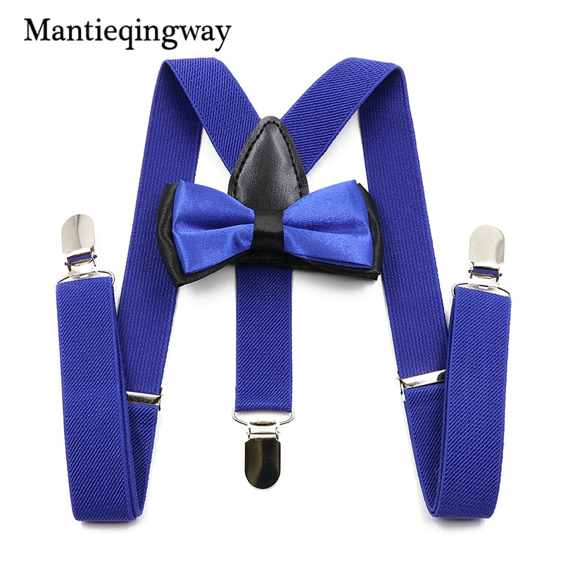 Mantieqingway New Arrival Solid Color Suspenders Kids Adjustable Elastic 3 Clips Y-Back Braces Boys Girls Suspenders Bowtie Sets