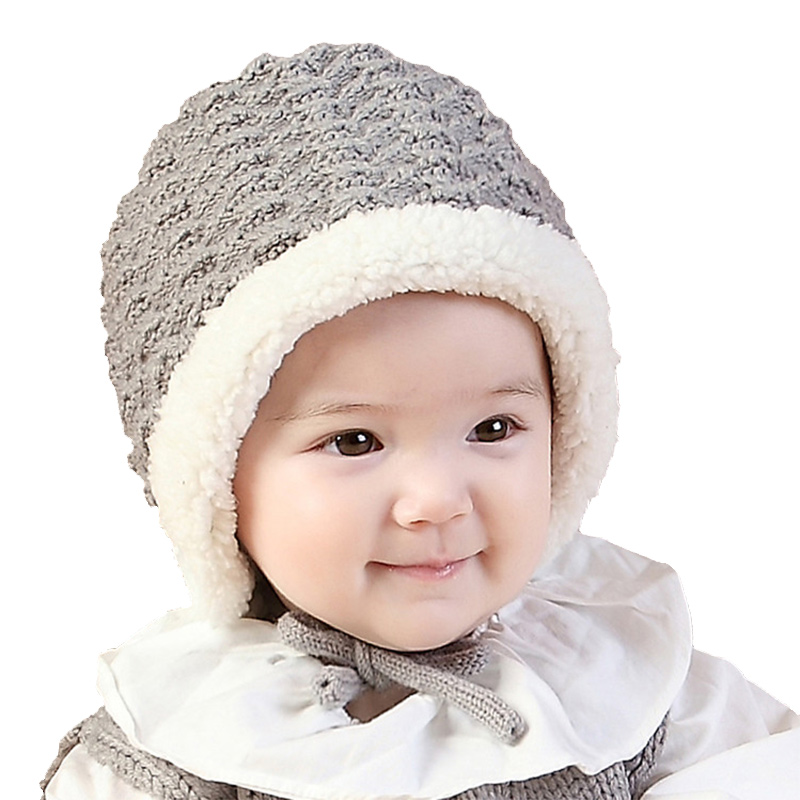 Velvet Winter Baby Hat Warm Cotton Knit Beanie Lace Up Ear Protect Girls Hat Solid Crochet Toddler Boys Hat Baby Boys Clothing