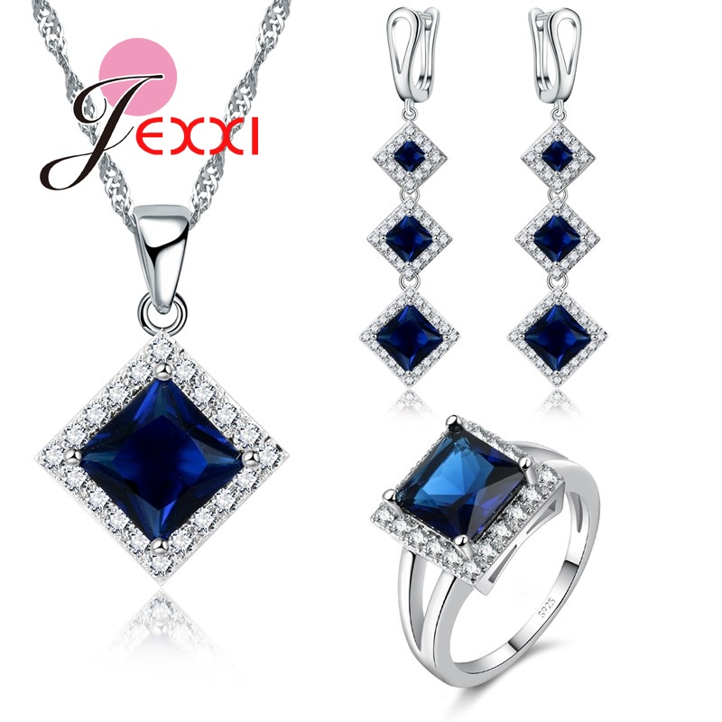 Wedding-Jewelry-Sets 925-Sterling-Silver Crystal Bride Women Luxury Square Princess-Cut