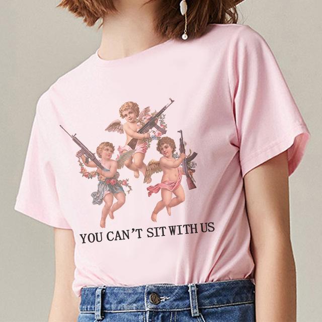 New Summer 2019 Short Sleeve O-Neck Pink Aesthetic Angel Top Vogue T Shirt