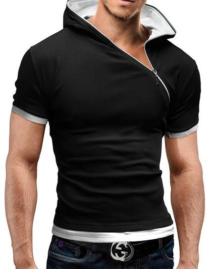 2019 New Men's Zipper Shirt Tops Tees Summer Cotton V Neck Short Sleeve T Shirt Men Fashion Hooded Slim T Shirts