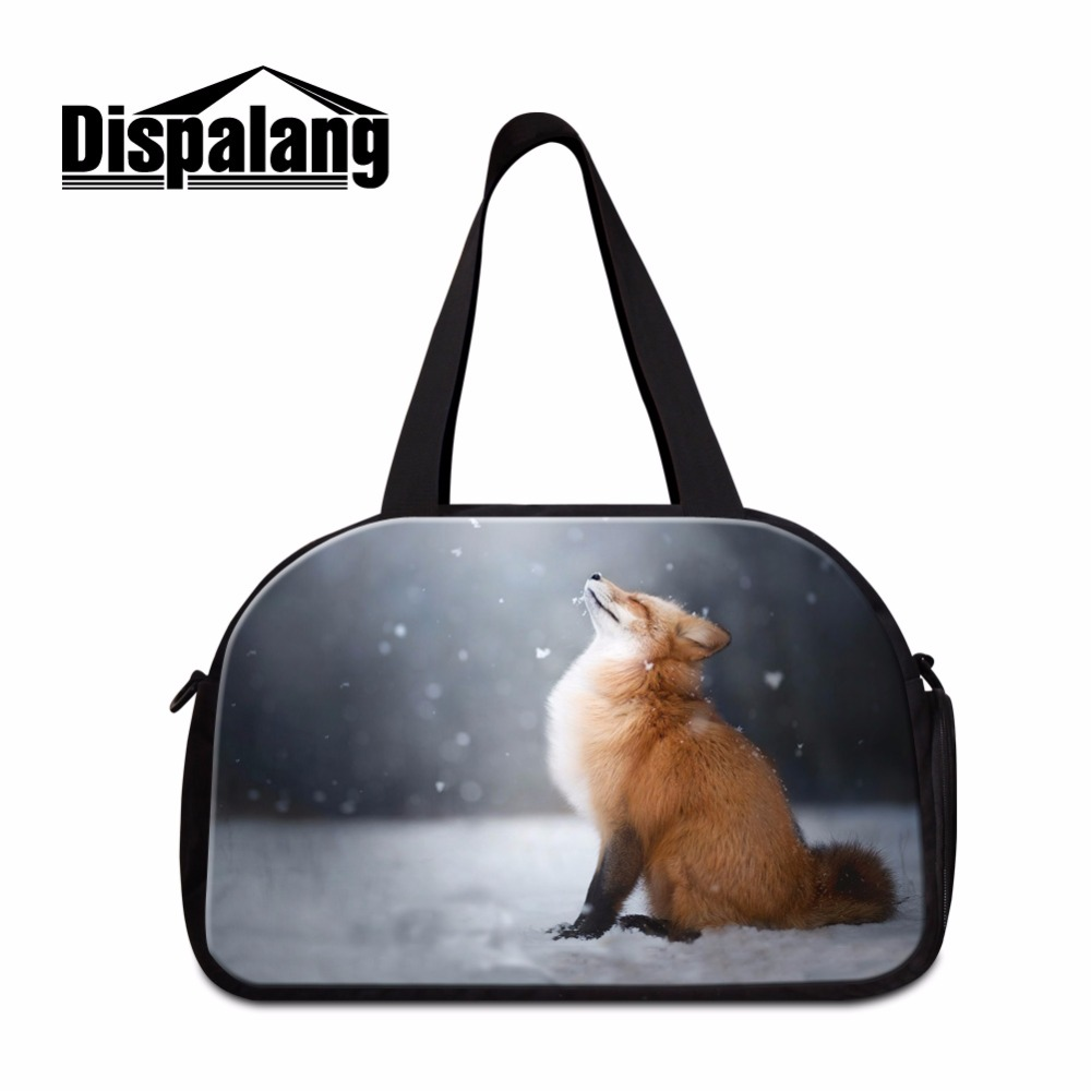 Dispalang Cute Travel Duffle Bag for Women Cute Fox Printing Shoulder Handbag Cool Cloth Travel Bags Fashion journey bags online