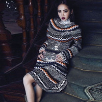 HIGH QUALITY Newest Spring Fashion 2017 Runway Women's Long Sleeve Luxury Bling Sequined Colorful Striped Wool Sweater Dress