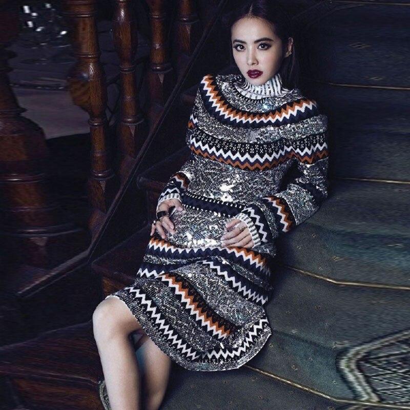 2017 À Rayé De Manches Mode Paillettes Qualité Date Longues Femmes Printemps Bling Pull Haute Laine Robe En Luxe Piste Coloré SwqI8z