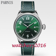 Parnis New 42mm green dial coin bezel date window sapphire glass automatic movement Men's Watch