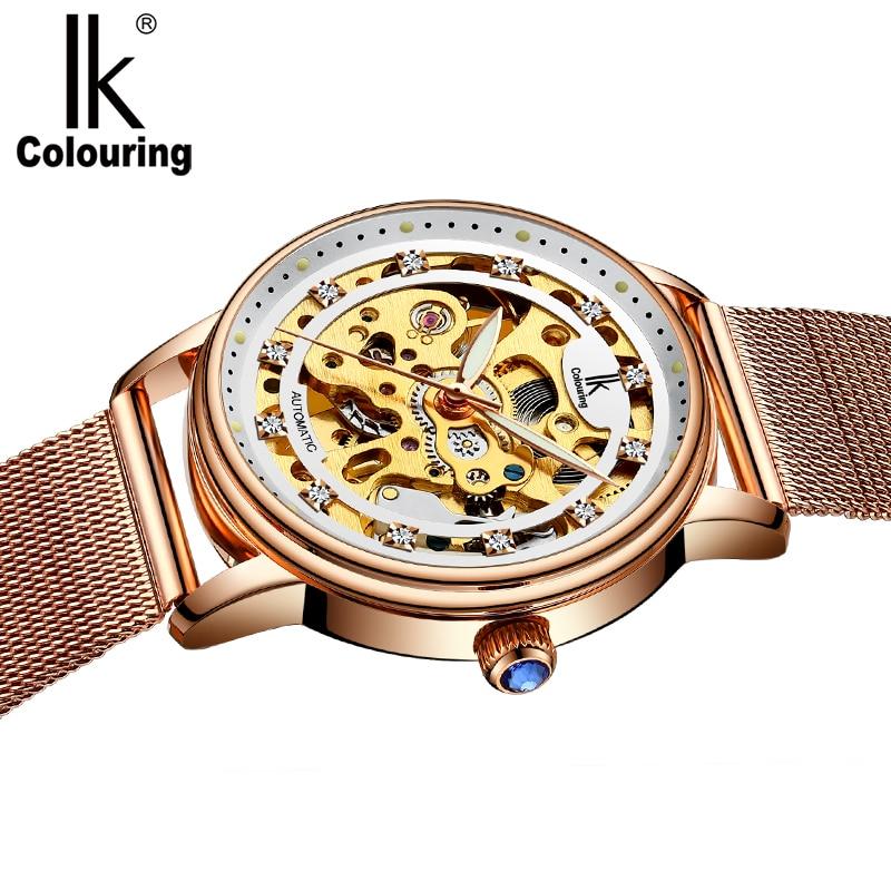 IK Colouring Ladies Wristwatch Automatic Stainless Steel Band Female Clock Mechanical Skeleton Rhinestone Women Watch