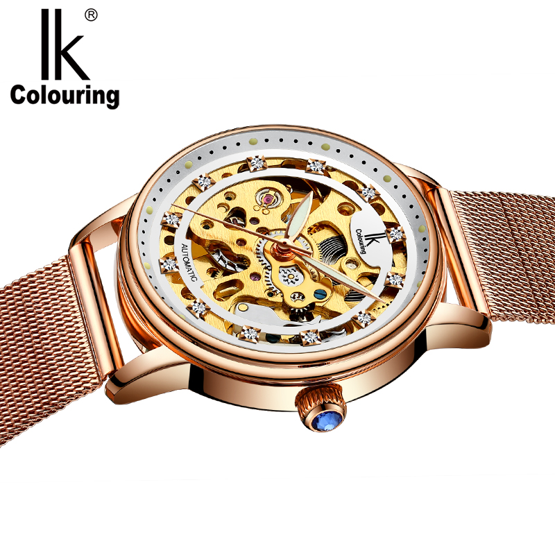 IK Colouring Ladies Wristwatch Automatic Stainless Steel Band Female Clock Mechanical Skeleton Rhinestone Women Watch
