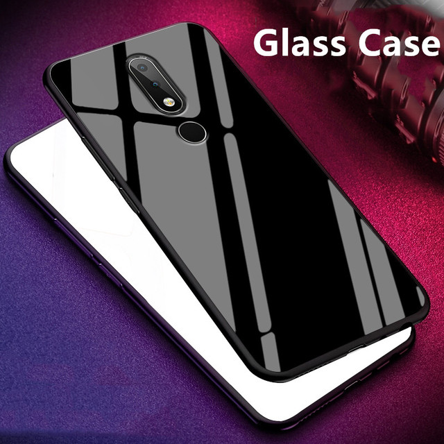 best loved 17b69 12464 For Nokia X6 2018/6.1 Plus Glass Case Luxury Silicone Soft frame+Glass back  Cover Accessory For NokiaX6 TA-1099 Funda Coque 5.8