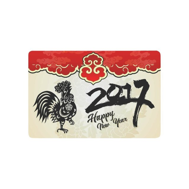 Traditional Chinese Paper Cut Rooster Anti Slip Door Mat Home Decor, Happy  New Year
