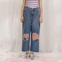 Summer Fashion New Women Jeans Ankle-length Denim Pants Capris Patchwork Mid-waist Plant Embroidery Hole Famme Jean Trouser