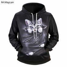Funny Cute Cat Printing 3D Jackets Men/Women Hiphop Pullover Black Hoodies Boys Loose Streetwear Hood Sweatshirt Tracksuits Coat