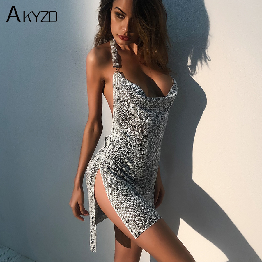 AKYZO 2018 Fashion Snake Print Sequined Dress Women Halter Metal Patchwork Split Hip Irregular Backless Nightclub