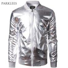 New Trend Metallic Sliver Jacket Men/Women Bomber Veste Homme 2016 Night Club Fashion Slim Fit Zipper Baseball Varsity Jacket