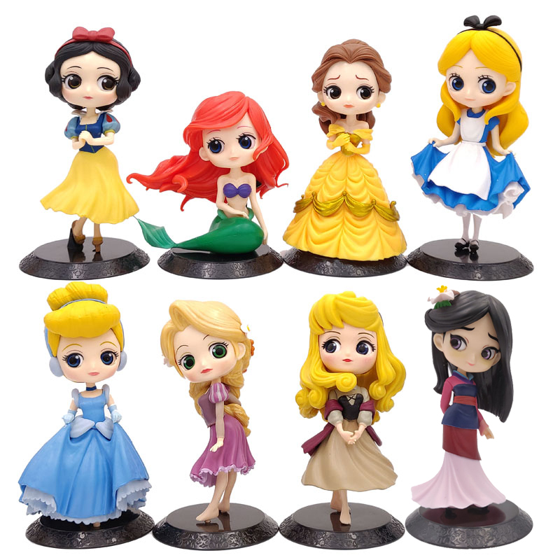 11cm Q Posket Princess Figure Toys Mulan Alice Princess Action Figure Model Collection PVC Toys  Cake Topper Cake Decoration