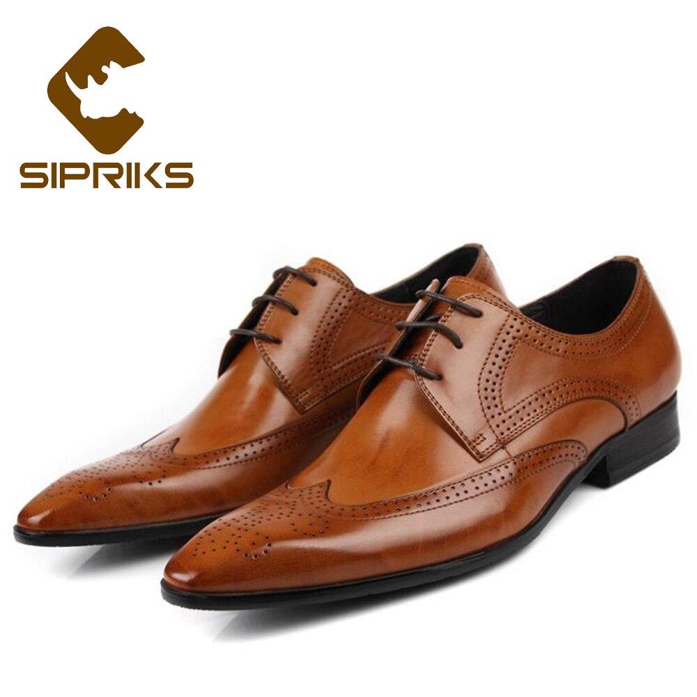 Sipriks hommes d'affaires en cuir véritable chaussures bordeaux bout pointu chaussures habillées hommes en cuir beige chaussures Brogue complet classique