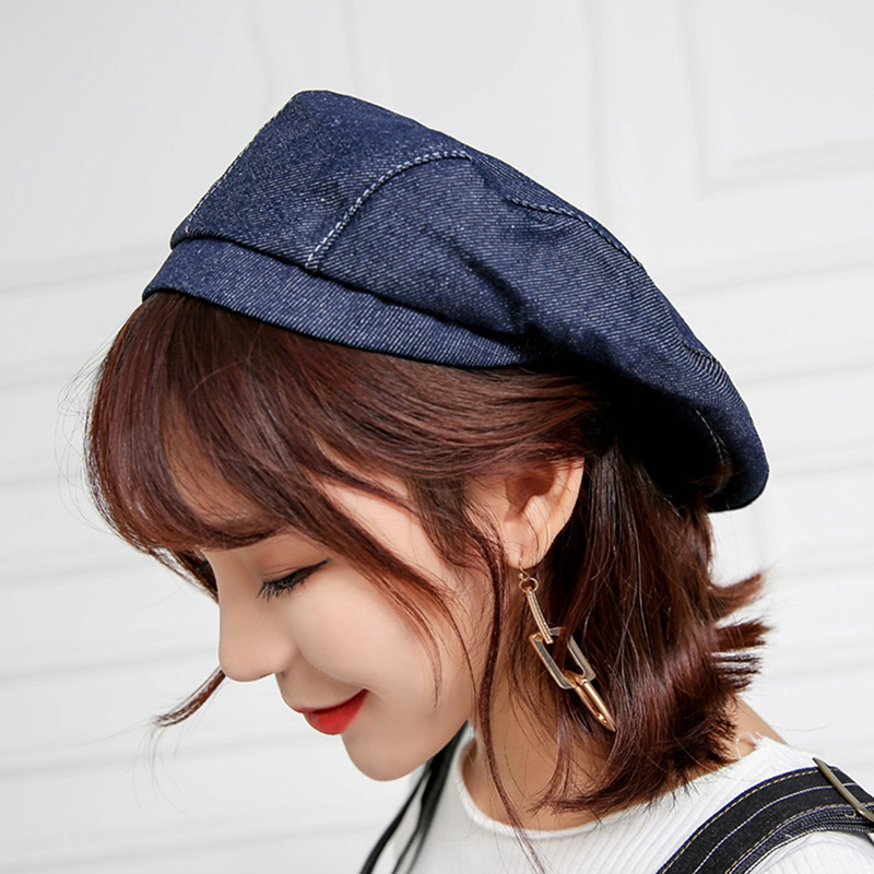 Lower Price with Spring Autumn Women Cowboy Newsboy Caps Fashion Casual Waiter Work Catering Hat Kitchen Forward Caps High Quality Denim Hats Products Hot Sale