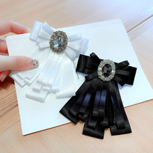 Korea Handmade Fabric Solid Vintage Bowknot Rhinestone Shirt Pins Neck Bow Tie Accessories Fashion Jewelry-YHNLB037F