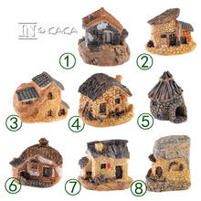 1pc Creative resin antique house Micro fairy garden sculpture figurines miniature/terrarium decoration ornament DIY accessories