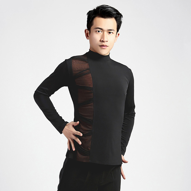 f1cef9354 Comfort Latin Dancing Shirts For Male Black Color Long Sleeve Original Tops  Men Adult Modern Chacha Ballroom Sexy Clothes Q11131