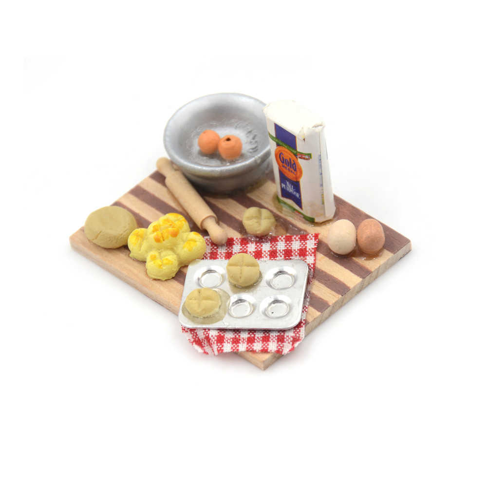 1Set of food cooking board Dollhouse Miniature Kitchen Food Eggs Milk Bread Play Kitchen Toys Creative For   Gifts