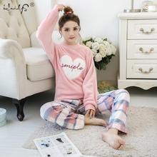 Conjunto de pijama listrado e de flamingo, para mulheres, nova, 2019, gola redonda, manga comprida, flanela, roupa de dormir, inverno, quente, duas peças roupa de casa