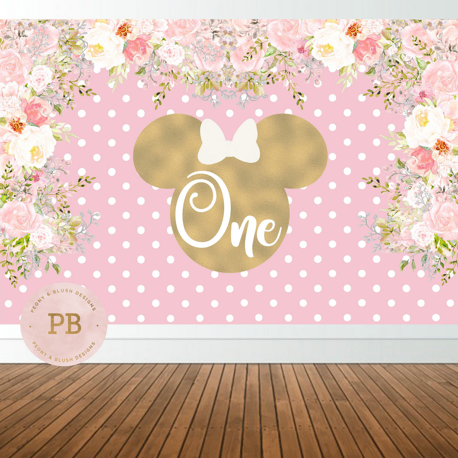 custom minnie mouse 1st birthday flower leaves polka dot pink background High quality Computer print party photo backdrop