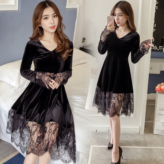 Us 3573 2018 Spring New Plus Size Gold Velvet Lace Dress Women Long Sleeve Patchwork Loose Womens Clothing Fashion Womens Dresses In Dresses From