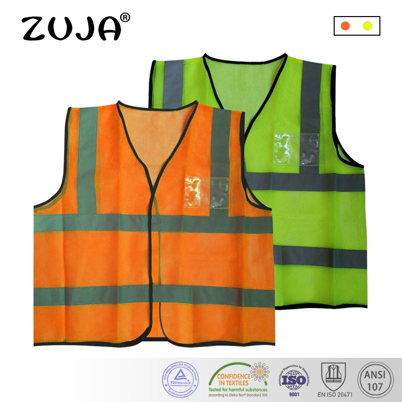 Safety Vest Mesh Vest Traffic Fluorescent Breathable Adjustable Pvc Tape Security & Protection Safety Clothing