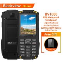"""Blackview الأصلي BV1000 2.4 """"IP68 مقاوم للماء في الهواء الطلق هاتف محمول وعر لوحة مفاتيح روسية المزدوج سيم مصباح يدوي صعبة الهاتف المحمول"""