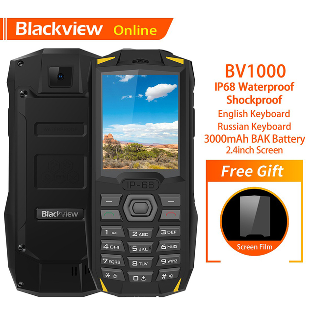 "Blackview Original BV1000 2.4"" IP68 Waterproof Outdoor Rugged Mobile Phone Russian Keyboard Dual SIM Flashlight Tough Cellphone"