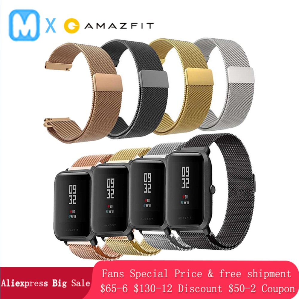 Amazfit Stainless-Strap BR3 Ticwatch E Replacement-Watch Bip Xiaomi for Huami Magnetic