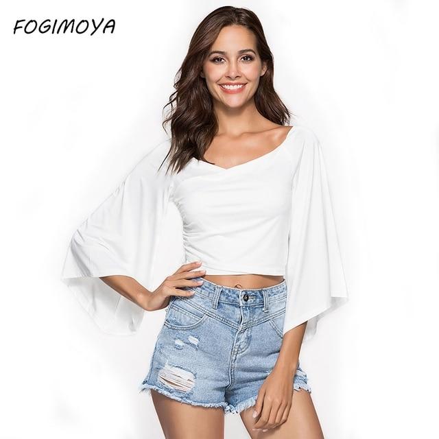 FOGIMOYA футболка Для женщин 2018 летние пикантные однотонные V шеи короткий топ Для женщин Твердые Flare рукавом дырявый пупка белая футболка новый