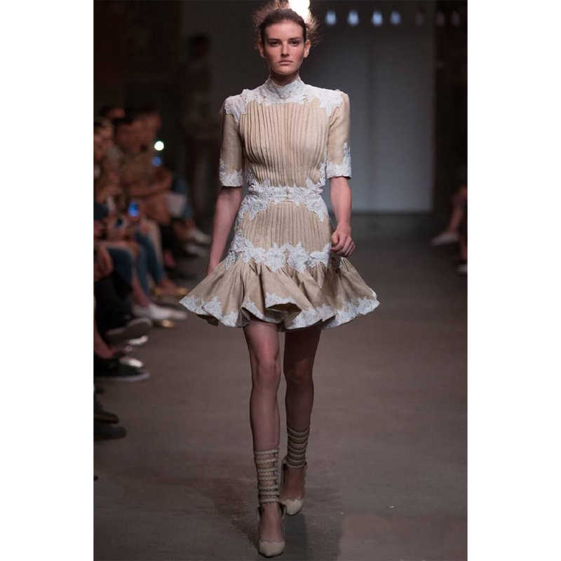ba50424ece89 2018 Runway Designer Puff Sleeve Cross Tied Backless Patchwork Embroidery  Woman Mini Dress Noble Party Night