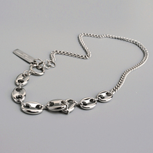 White Gold Pig Nose clavicle chain Splicing short choker Whole Length 39cm gold bar Neckless
