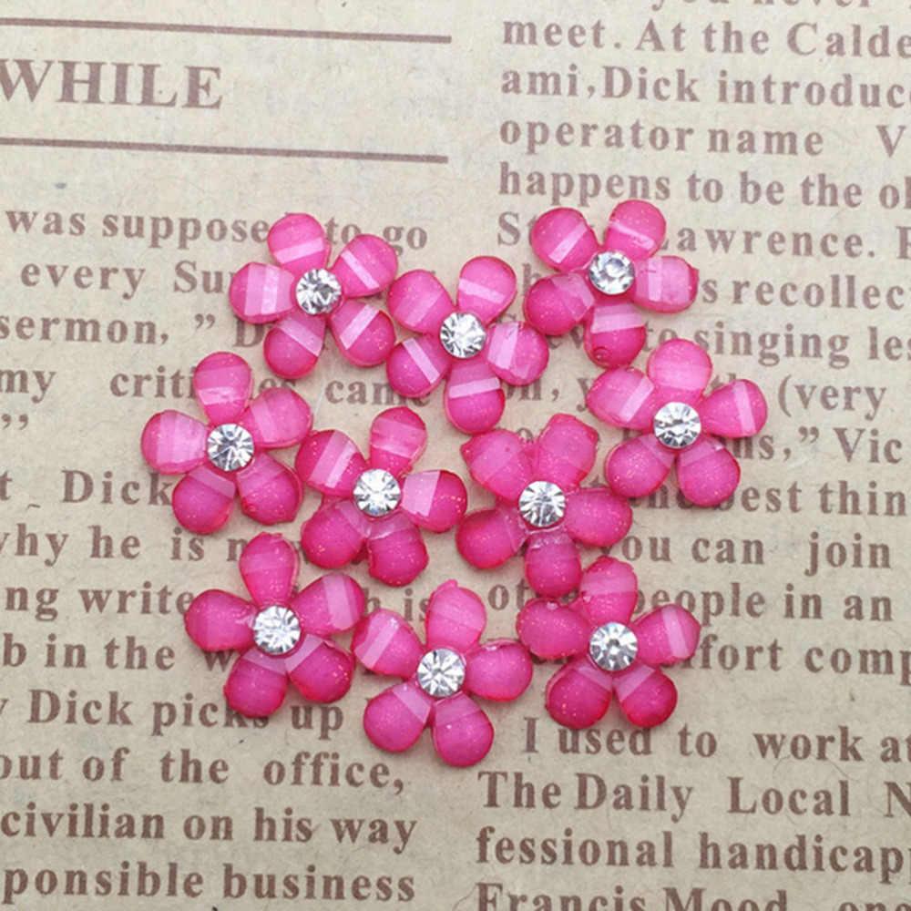 20 sztuk/partia śliczny kwiat ze żywicy ze strasem Flatback Cabochon dla ocena biżuteria DIY telefon, zdobienie paznokci dekoracje