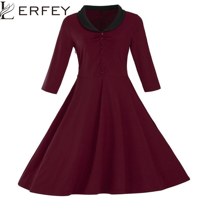 LERFEY Women Autumn Vintage Dress A Line Party Dresses Retro 1950s  Rockabilly Pin up Half Sleeve Dresses Plus Size Clothing 384a18ffd4cb