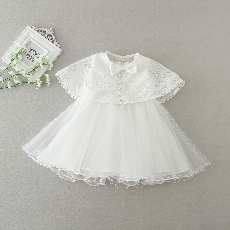 New Two-piece Baby Girls Princess White Lovely Birthday Party Dresses Bow Shawl Cute Ball Gown Dress 0-2 Years Old