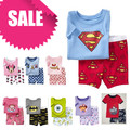 PST1, Summer Children girls boys pajamas, 100% Cotton short sleeve T shirt + shorts, sleepwear/clothing sets for 2-7 year.