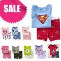 PST1, verano Niños chicas chicos pijamas, 100% de Algodón de manga corta camiseta + pantalones cortos, ropa de noche/ropa para 2-7 años.