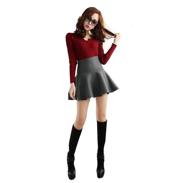 541da7a078 2016 Nueva Otoño Invierno Caliente Para Mujer Faldas Cortas Sólido Versátil  Casual Mini Falda Elástico de
